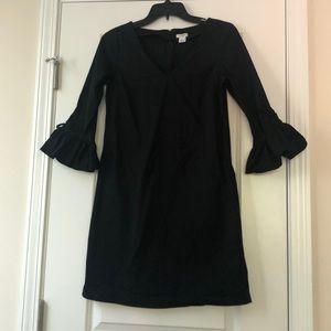 J.Crew Black Bell Sleeve Shift Dress